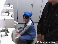 Asian maintenance lady cleans wrong part5