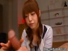 Cute japanese teen taking care of cock