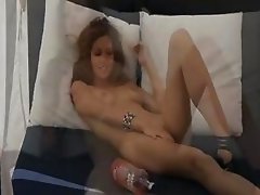 tight brunette fingering her cunt