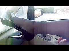 PANTYHOSED LEGS IN CAR