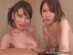 Gorgeous asian brunette babes suck stiff part5