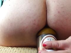 crossdresser beer bottle anal insertion