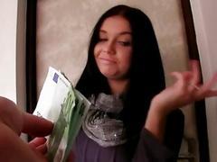 Brunette Czech girl stuffed for money