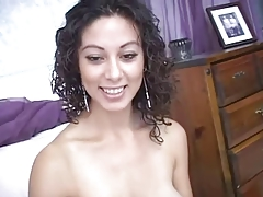 Busty latina blows and makes the guy cum