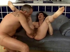Hairy granny gets her wet pussy fucked
