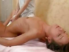 Slim Teen Gets Massage Before Doggy Poking