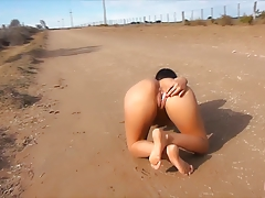 Amazing Body Latina Getting Naked in Public Road! OMG!