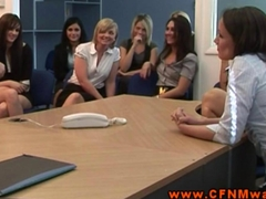 CFNM group humiliating their sub in hot group