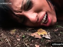 Brunette bitch taking big dildo in ass hole outdoor