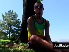 Gay porn Sexy new guy Blade Woods takes some time out in the park saying