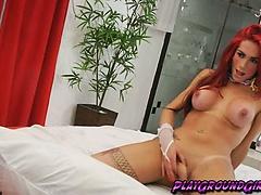Horny Redhead Jerking Solo