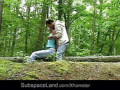 Claudie bound in the forest and fucked