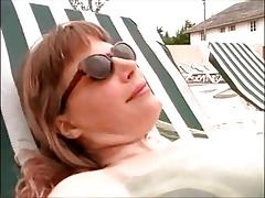 lesbian mistress use slave on the beach