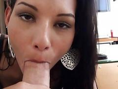 Hot beauty rides a cock