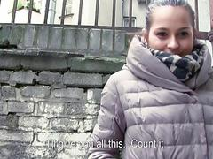 Eurobabe twat fucked in public for money