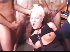 Pierced Blonde Gangbanged