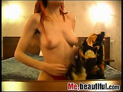 Redhead fingering and shooting herself