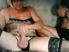 CD guy has his limp cock sucked by wife with big breasts