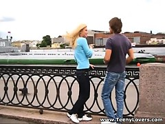 A cute sporty guy promised this naive teen blonde to show