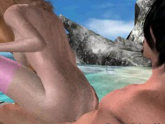Hot 3D blonde getting double teamed on the beach