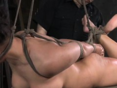 Hogtied sub gets bastinado treatment
