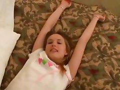 cute angel masturbates hands