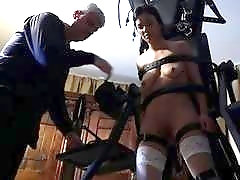 Skinny babe gets dominated by a old sadist with whip