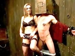Busty perfect blond mistress humiliates and dominates bound guy BDSM