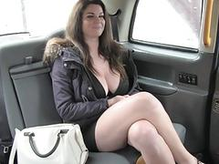 Busty passenger fucked and jizzed on ass