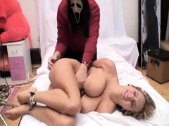 Striking blonde milf with big boobs gets tied up and tickled