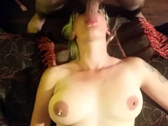 Slutty blonde with big hooters takes a cock down her throat