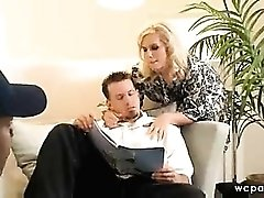 Stockings blonde getting black cock in ass