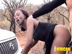 Skinny black babe in pantyhose takes dicks