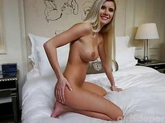 Skinny blonde with cute fake tits sweats on hard cock