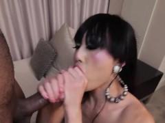 Asian tranny takes big black cock