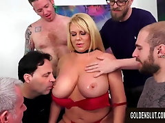 Ample Mammories Mature Barista Karen Fisher Gets a 5 Stud Gang-Fuck