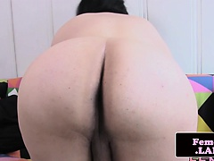 Amateur femboy tugging her throbbing cock