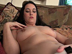 Chubby skank plays with her boobs and masturbates