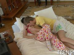 Busty Russian chick gets fucked missionary style in bed