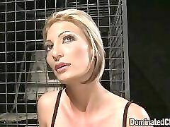 Sexy tied bdsm blonde opens wide