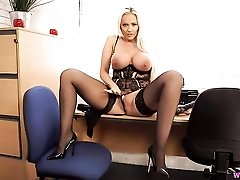 Secretary babe in a leather miniskirt gives JOI