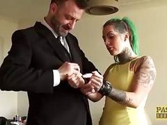 Inked sub slut destroyed and dominated by maledom BDSM master