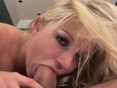 Lovely blonde pleasures a thick dong orally