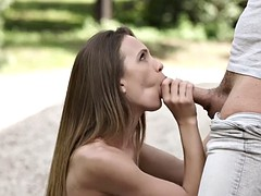 fucking with a naughty friend outdoors makes veronica clark happy