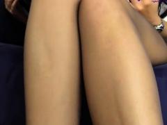 Hot vixen teasing in nylon stockings