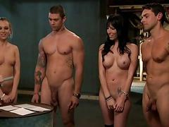 Horny men and women fucking in jailcell