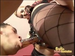 Slutty blonde hussy uses a strap-on to drill her mans butth