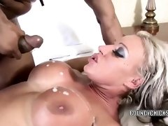 Busty blonde girl is getting her pussy fucked