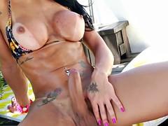kinky tranny tugs her cock