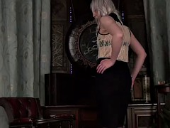 stunning blonde plays with herself while in lingerie